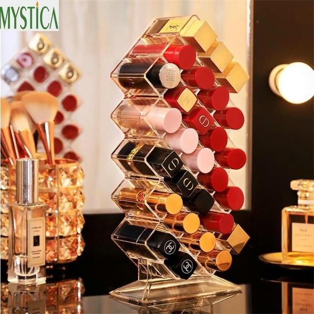 Acrylic Clear Lipstick Storage Rack Holder Cosmetic Brush Lip Rouge Organizer Shelf Makeup Nail Polish Display Stand Storage Box