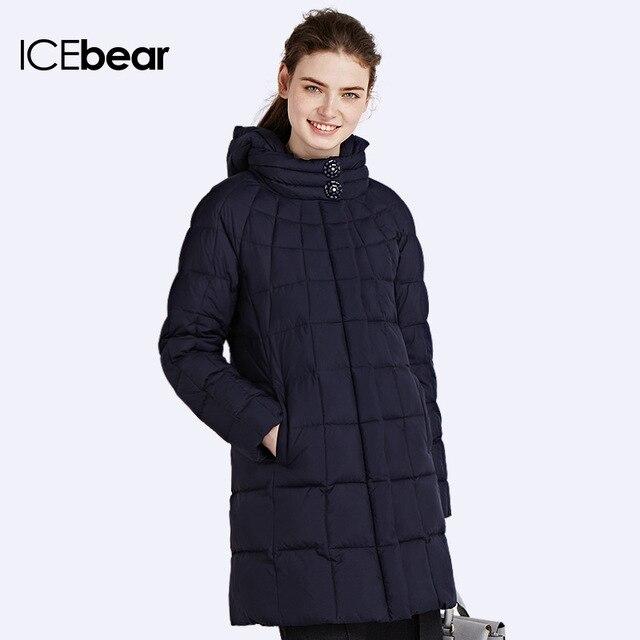 ICEbear 2016 Толщиной Теплая Зима Био-Пух Высокий Воротник Женщин Пальто на Вате И Длинные Куртки Пять Цветов Кнопка Карманы 16G6221P