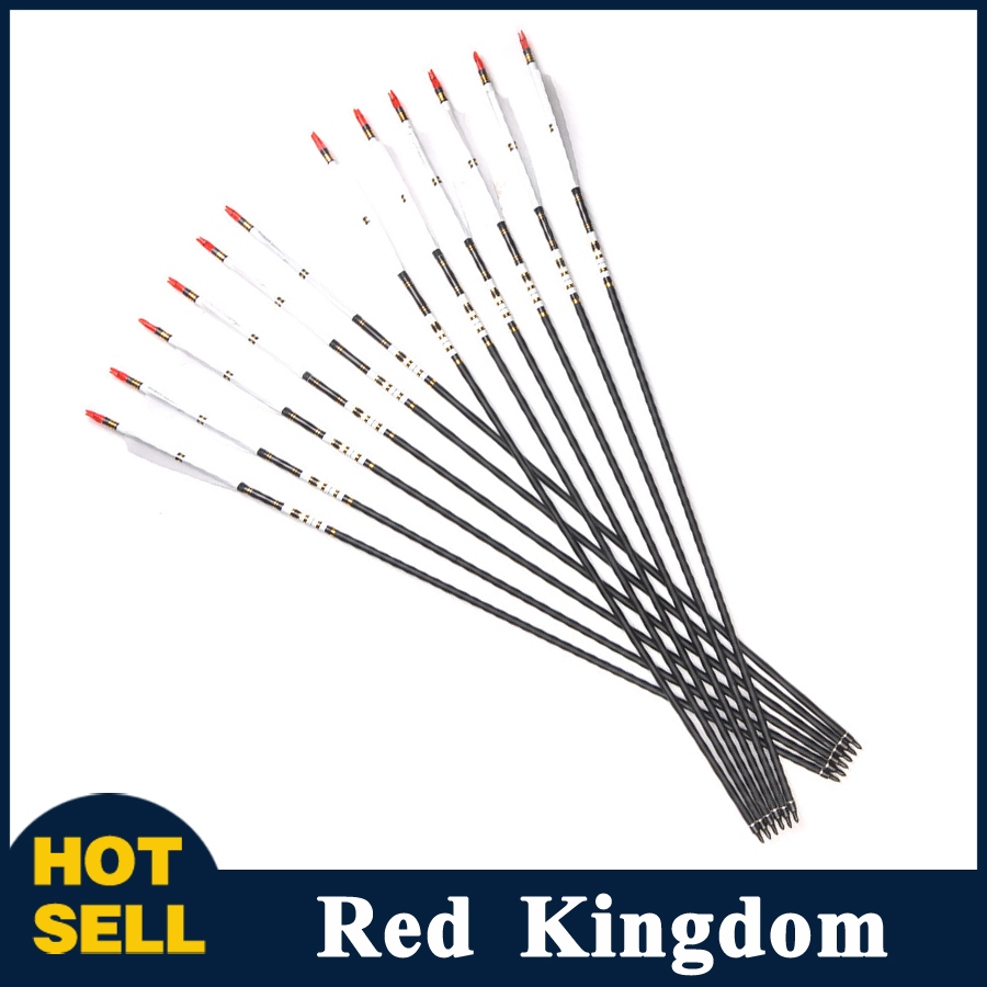 12pcs/6pcs 32 Inches Spine 500 OD 7.6 mm ID 6.2 mm Carbon Arrow with White Color Real Feather for Recurve Bow in Hunting wholesale archery equipment hunting carbon arrow 31 400 spine for takedown bow targeting 50pcs