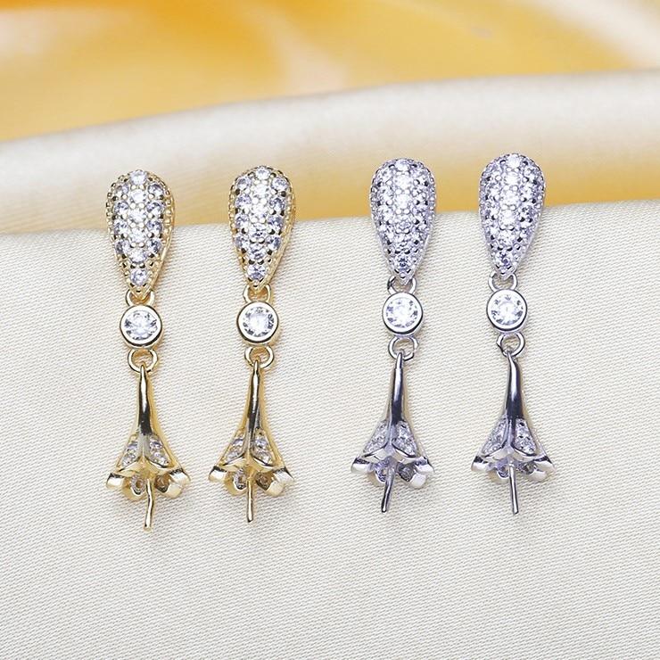 2 color Pearl Earrings Mountings Beautiful Earrings Findings Earrings Settings Jewelry Parts Fittings Drop Earrings Accessories