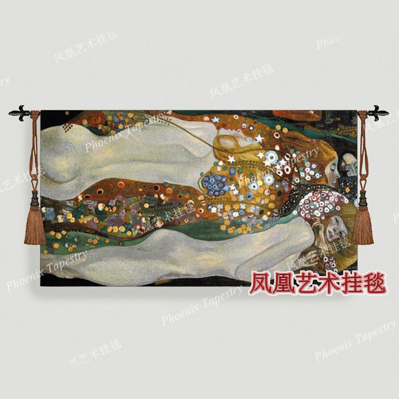 Belgium tapestries wall hanging 80*140cm world famous paintings Khalim's water snake II antique mural manly rugs H145