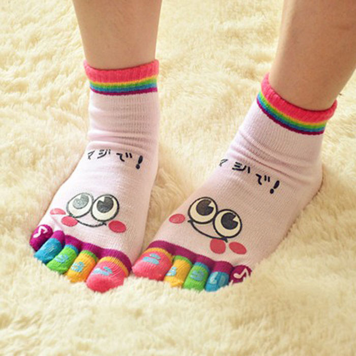 Funny Socks calcetines 2017 Fashion One Pair Lady Women Girls Smile Five Fingers Print Trainer Toe Ankle Socks chaussette femme