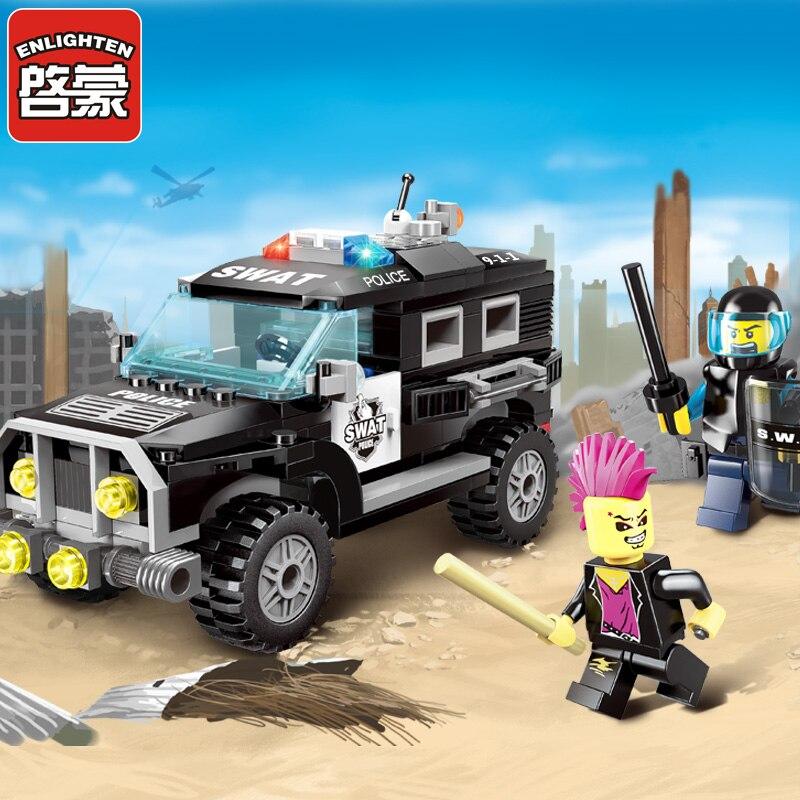 Ilumine o bloco de construção da cidade carros polícia swat carro 190 peças tijolos educacionais brinquedo menino presente-nenhuma caixa