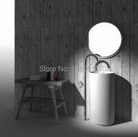 Free Shipping Bathroom Pedestal Washbasin Solid Surface Stone Freestanding Sink Delivey By Courier Service W9011