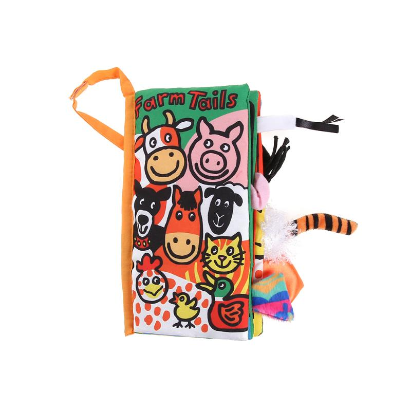 Baby Soft Cloth Book Cartoon Animal Kids Toys Early Children Infant Development Educational Learning Unfolding Activity Book
