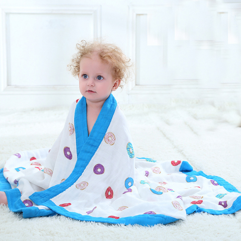 Algodón de fibra de bambú bebé muselina Swaddle para bebé infantil hoja para niños Toalla de baño 2 capas manta del bebé para recién Nacidos