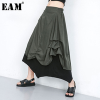 [EAM] 2019 New Spring Summer High Elastic Waist Hit Color Green Pleated Spit Irreguar Half body Skirt Women Fashion JU673