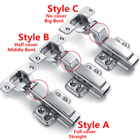 5pcs Clip On 304 Stainless Steel Hinge Soft Close Brass Buffer Hydraulic Hinge Full Overlay