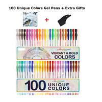 100 Color Set Gel Pen For Adult Coloring Books Glitter Neon Metallic Art Drawing School Stationery