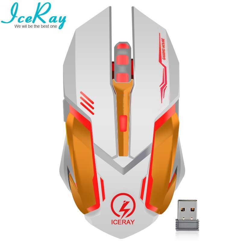 IceRay Wiederaufladbare Drahtlose Maus Slient Stumm Klicken Computer Gaming Eingebaute Batterie mit Ladekabel Für PC Laptop