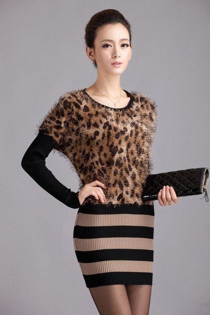 Street fashion women's 2012 slim leopard print basic sweater one-piece dress sweater dress