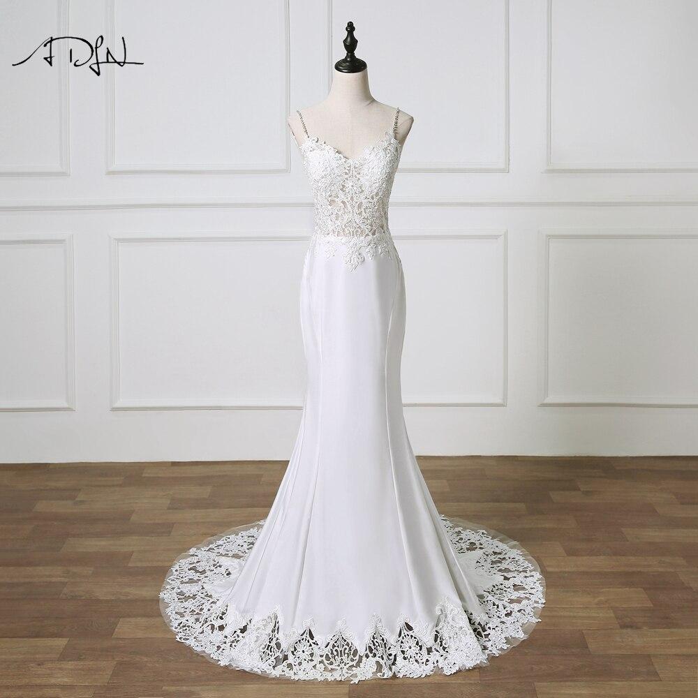ADLN Mermaid Wedding Dresses Lace Boho Bridal Gown Backless Sexy Spaghetti Straps robe de mariee 2019