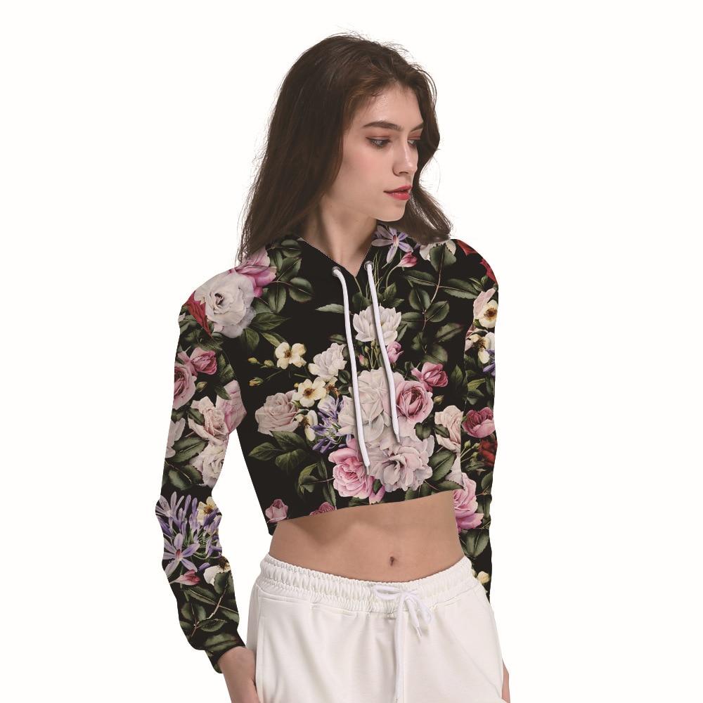 f7fb2e20439e8b Chinese Rose Print Cropped Hoodies Women Full Sleeves Leaking Belly Crop Top  Hoodie Sweatshirt Moletom Streetwear Sudaderas