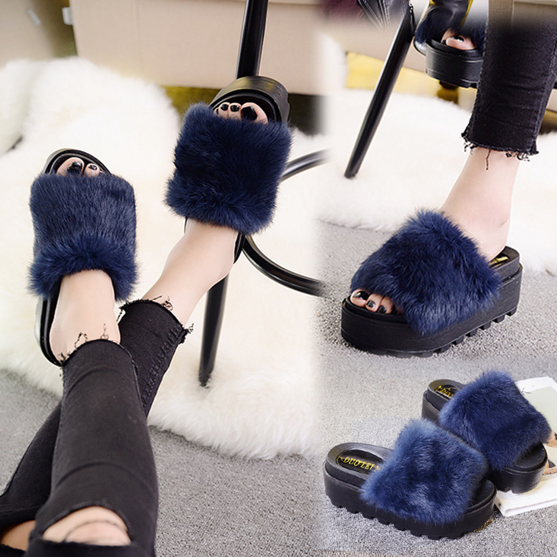 2b3733e8ef0e natural rabbit fur slides sandals mules flat heel furry slippers multi  Rihanna Celeb women sandals slider mule shoes-in Slippers from Shoes on ...