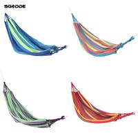 SGODDE Portable Swing Hammock Outdoor Camping Travel Patio Yard Hanging Tree Bed Canvas Travel Camping Swing