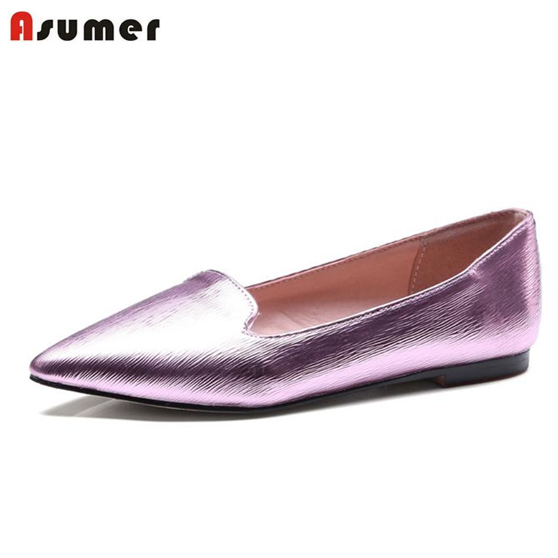 Asumer 2017 Soft leather single shoes botas fashion women flats shallow pointed toe big size 32-43  four seasons shoes solid flock women flats 2017 pointed toe ladies single shoes fashion shallow casual shoes plus size 40 43 small yards 33 sapatos