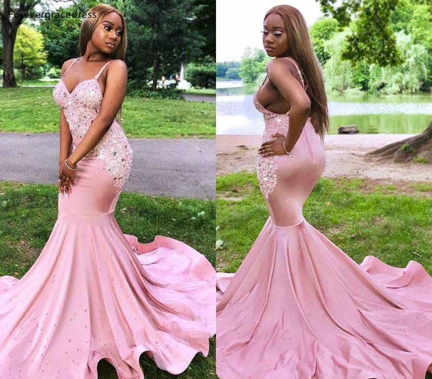 Pink South African Black Girls   Prom     Dresses   Nigeria Spaghetti Straps Holidays Graduation Wear Party Gowns Plus Size Custom Made