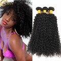Estilo brasileiro Kinky Curly Virgem Cabelo 3 Pacotes Brasileira Encaracolado Tecer Cabelo Humano Encaracolado Afro Crespo Não Transformados Extensão Do Cabelo