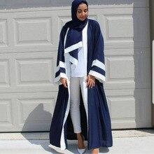 2019 new Casual Muslim Abaya Striped Dress Scarf Cardigan Long Robes Kimono Ramadan Middle East Thobe Service Islamic Clothing
