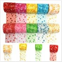 7 5cmx22 5m Printing Tissue Tulle Spool Craft Organza Wedding Decoration Tulle Rolls Gauze Element Table
