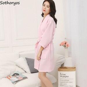 Image 2 - Женские халаты, хлопковый Повседневный халат с поясом, элегантный халат для ванной, спа, однотонное кимоно, повседневная женская одежда для сна, дышащий Халат
