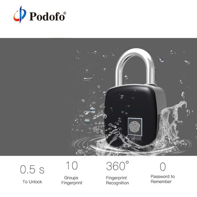 Podofo IP65 USB Rechargeable Smart Keyless Fingerprint Lock Anti-Theft Home Security Electronic Padlock Door Luggage Case Lock