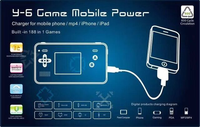 Retro Game mobile power with 188 retro classic games 4000mAh Portable Power bank battery for Phone
