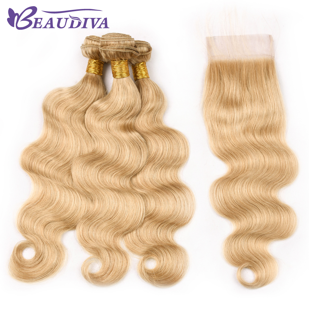 Beaudiva Body Wave Brazilian Hair With Lace Closure Swiss Lace 3 Pcs Wave Brazilian Human Hair Bundles With Closure Free Part