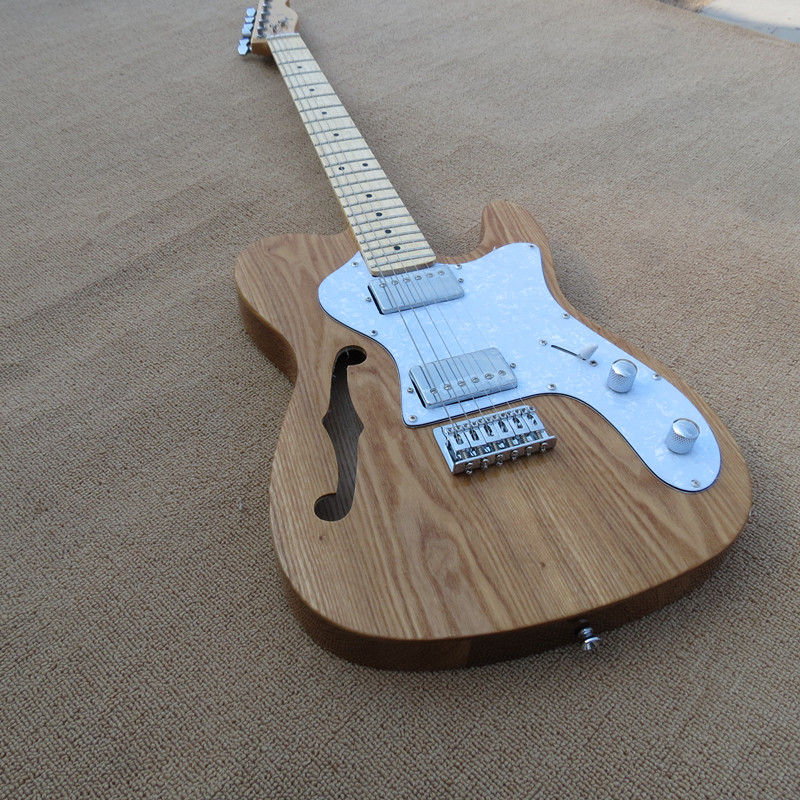 Wholesale factory custom semi hollow electric guitar and maple finger board, white pearl pickguard, customizable