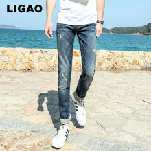 LIGAO 2017 Men's Jeans Casual Slim Ripped Scratched Straight Pant Trousers Male Mens Denim Jeans High Durability Elastic Pants