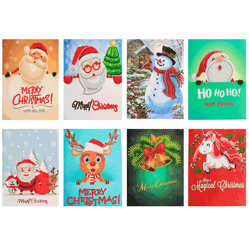 8pcs 5D DIY Diamond Painting Cartoon Paper Greeting Postcards Craft Kids Festival Greet Cards Mini Santa Claus Merry Christmas(China)