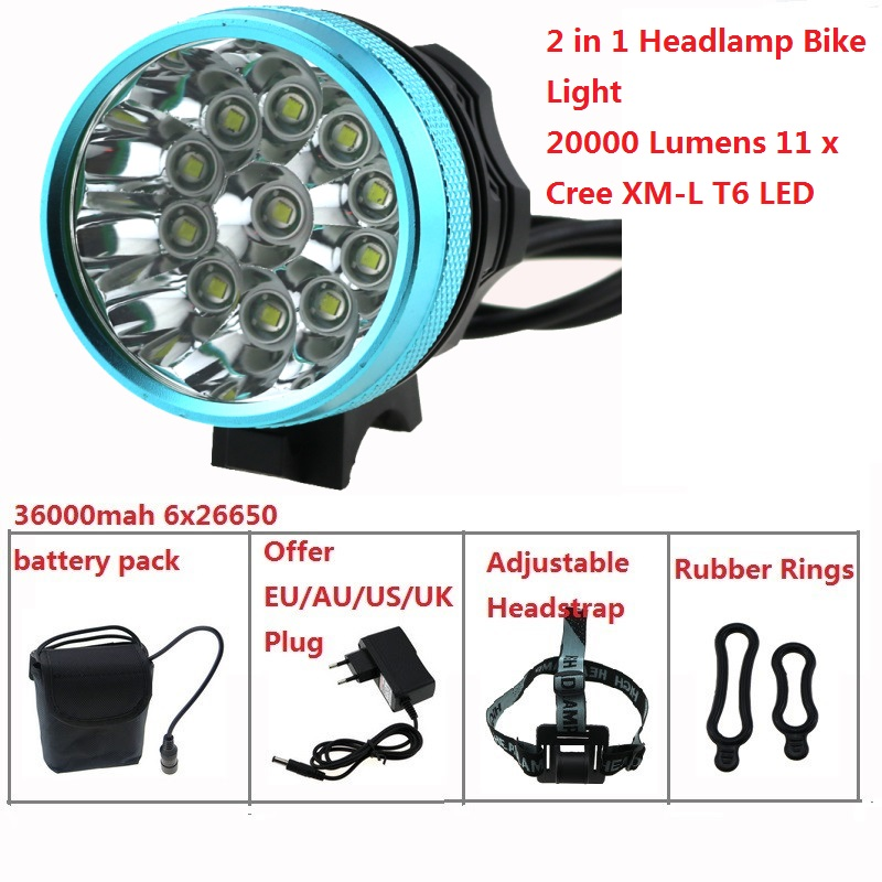 20000 Lumens 11T6 Bike Headlamp 11 x Cree XM-L T6 LED Bicycle Light Cycling Headlamp + 36000mah 26650 Battery Pack + Charger 950lm 3 mode white bicycle headlamp w cree xm l t6 black silver 2 x 18650
