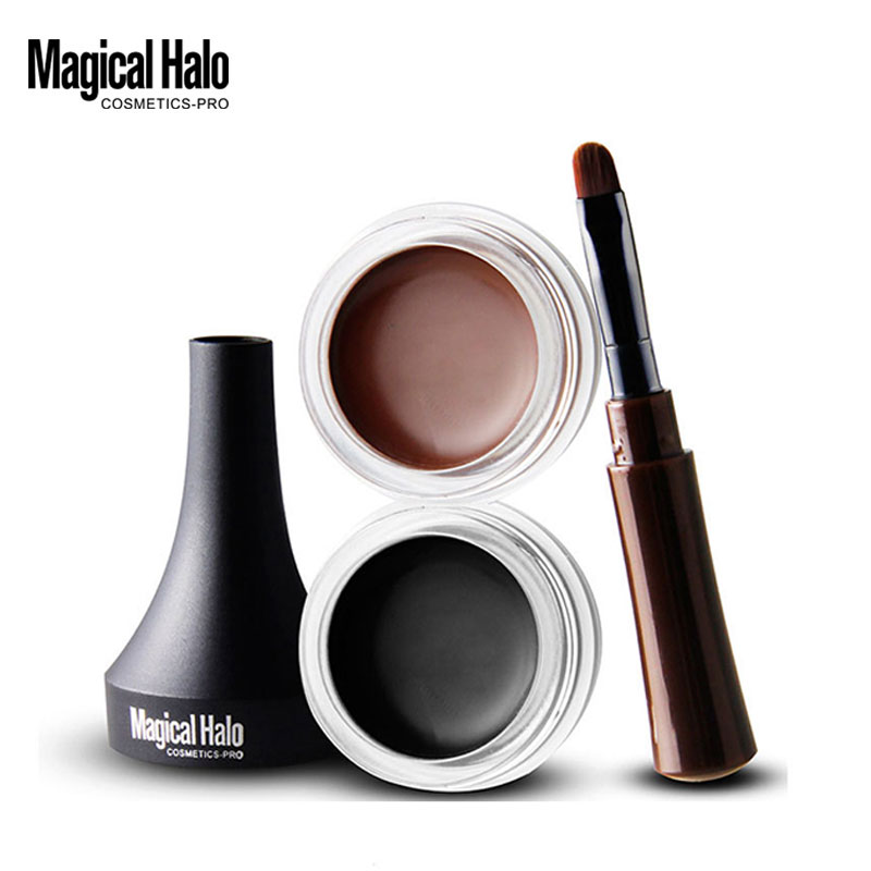 Brand New Black Brown Long Wearing Gel Eyeliner Makeup Set Shaping Quick-Dry Non-dizzy Silky Smooth Waterproof Eyes Liner image