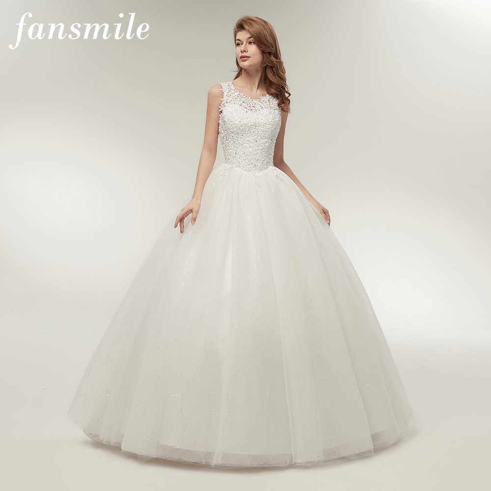 b77abd0170f Fansmile Korean Lace Up Ball Gown Quality Wedding Dresses 2019 Alibaba  Customized Plus Size Bridal Dress
