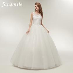 Fansmile в Корейском стиле на шнуровке бальное платье качество свадебные платья 2019 Alibaba индивидуальные размера плюс Свадебное платье настоящая...