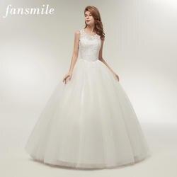 Fansmile Корейский кружево до бальное платье качество свадебные платья 2019 Alibaba под заказ плюс размер настоящая фотография FSM-002F