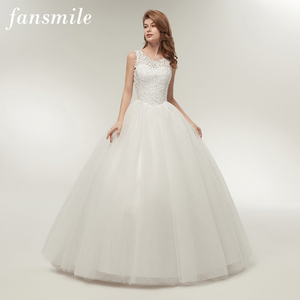 Image 1 - Fansmile Korean Lace Up Ball Gown Quality Wedding Dresses 2020  Customized Plus Size Bridal Dress Real Photo FSM 002F