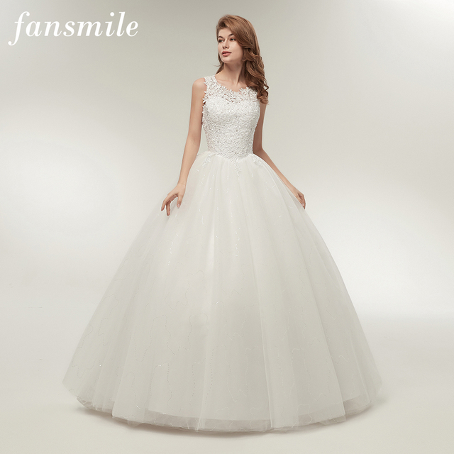 Fansmile Korean Lace Up Ball Gown Quality Wedding Dresses 2020  Customized Plus Size Bridal Dress Real Photo FSM 002F