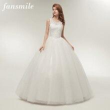 Fansmile מבריק חצאית Vestidos דה Noivas כדור שמלת איכות חתונה שמלות 2020 מותאם אישית בתוספת גודל כלה תמונה אמיתית FSM 002F