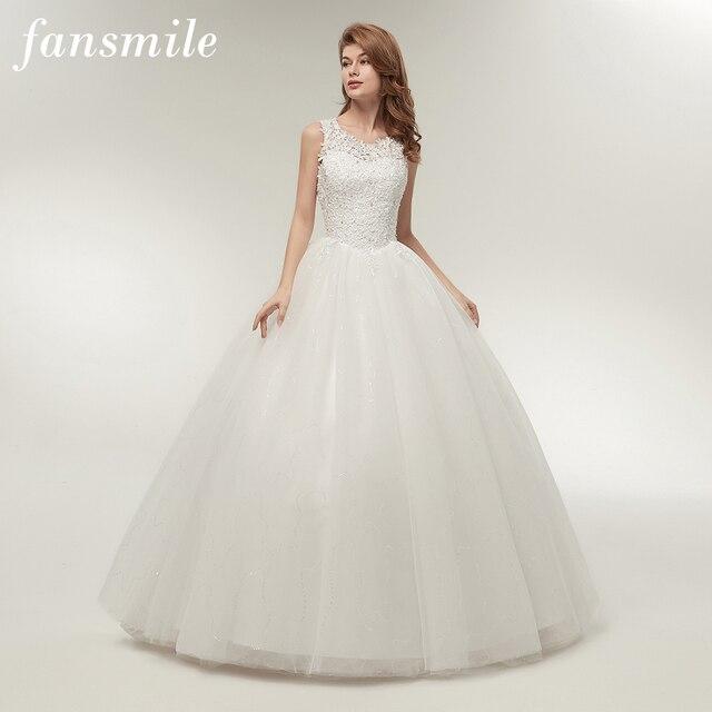Fansmile coreano encaje hasta el vestido de baile vestidos de boda de calidad 2017 Alibaba personalizado más tamaño vestido de novia foto Real FSM-002F