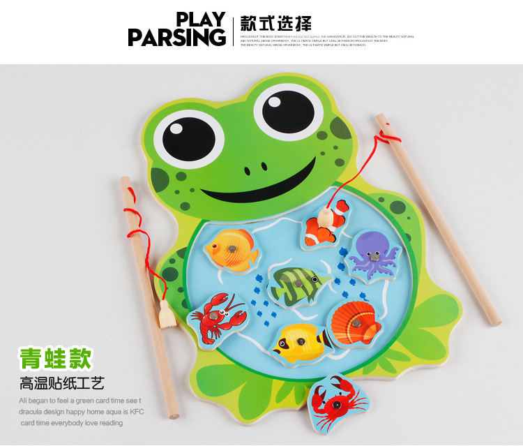 ᓂfishing game baby wooden toys magnetic fishing game jigsaw puzzle