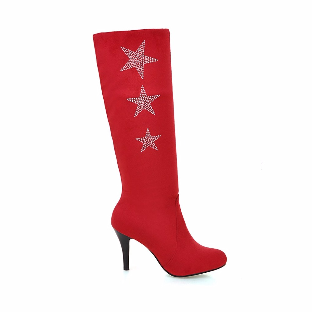 New Winter Sales Red Blue Gray Women Knee High Boots Black Sweet Ladies Studded Shoes Spike Heel ELK91 Plus Big size 10 32 50 43 brand new hot sales women nude ankle boots red black buckle ladies riding spike shoes high heels emb08 plus big size 32 45 11