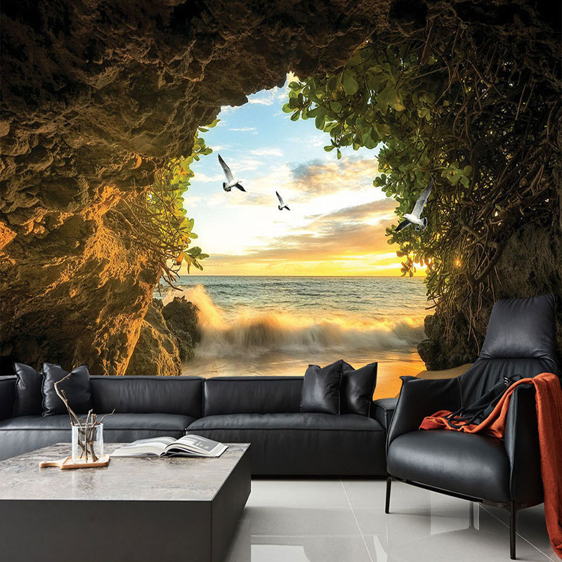 Photo Wallpaper Modern Cave Seaside Scenery Mural Wall