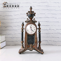 TUDA Free Shipping 12inch Vintage American Style Table Clock Mute Quartz Table Clock Luxury Exquisite Resin Table Clock