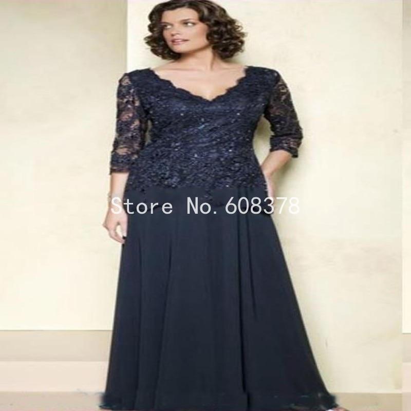 Plus size 3 4 length sleeve dresses
