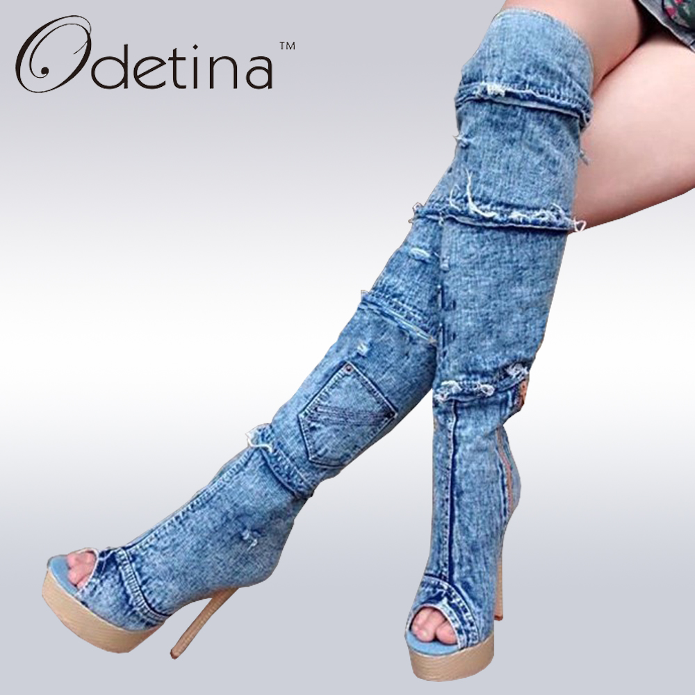 Odetina Brand Women Peep Toe Thigh high Boots Blue Denim Boots For Ladies Platform Super High Heel Open Toe Over The Knee Boots light khaki boots for women rivet peep toe platform boots studded suede women stiletto heel open toe sandal boot womens leather