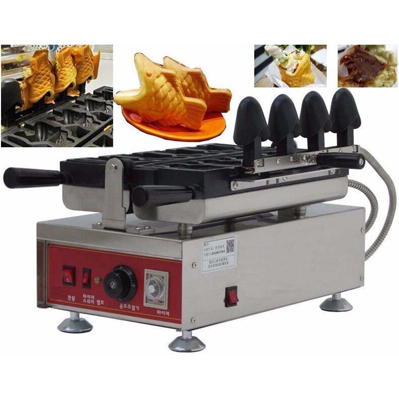 Commercial Ice Cream Cone Taiyaki Machine Non-stick Fish Shape waffle Taiyaki Baker commercial non stick 110v 220v electric ice cream fish waffle taiyaki iron maker baker machine