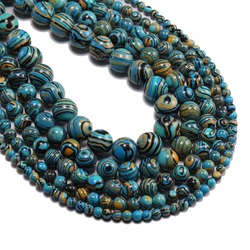 1strand/lot 4 6 8 10 12 mm Striped Blue Malachite Stone Beads Round Loose Spacer Bead For Jewelry Making DIY Necklaces Bracelets