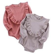 debdee10a275 Baby Rompers Princess Baby Girl Long Sleeve Rompers Newborn Baby Ruffle  One-piece Kids Cute