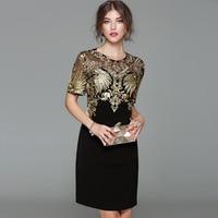 Sexy New Arrival 2017 Autumn Fashion Women Black Sheath Dress Heavy Gold Line Embroidery Short Sleeve